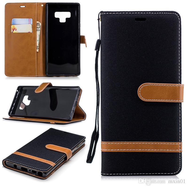 Retro Denim Jeans Leinwand Hybrid Brieftasche Ledertasche für iPhone 11 PRO MAX XR XS X 8 7 Samsung S7 Rand S8 S9 S10 PLUS S20 Ultra Note 10