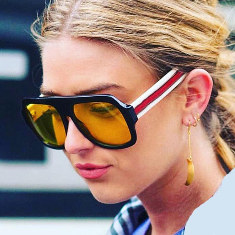 db4efb3af6 Oversized Sunglasses Women Brand Designer Retro Big Frame Red Green ...