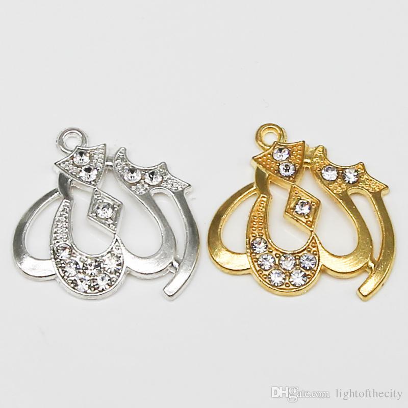 043ce16d0f27 Compre 30 Unids Oro Y Plata Religioso Musulmán Islámico Símbolo Encanto  Diamante Colgante Collar Pulsera De Joyería Diy Que Hace A Mano A  18.5 Del  ...