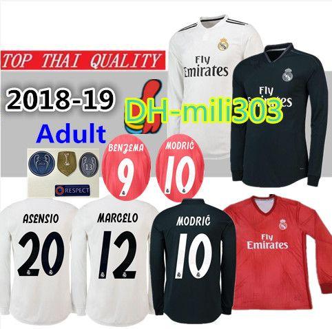 920ca637d6d1d 2018 2019 Real Madrid Home Camiseta De Fútbol De Manga Larga 18 19 BENZEMA  ISCO BALE ASENSIO MODRIC Tercera Camiseta De Fútbol De La Liga De Campeones  Roja ...