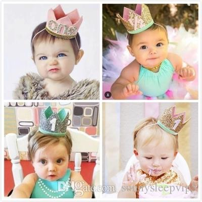 Cute Baby Birthday Party Cap Boys Girls Priness Crown Number 1st 2 3 Year Old Hat Glitter Headband Shower Childrens Invitations