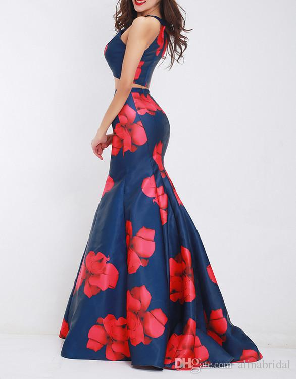 New printing style 2018 Two Pieces Formal Evening Dresses halter Skirt Floor Length Prom Party Gowns sexy prom dresses long