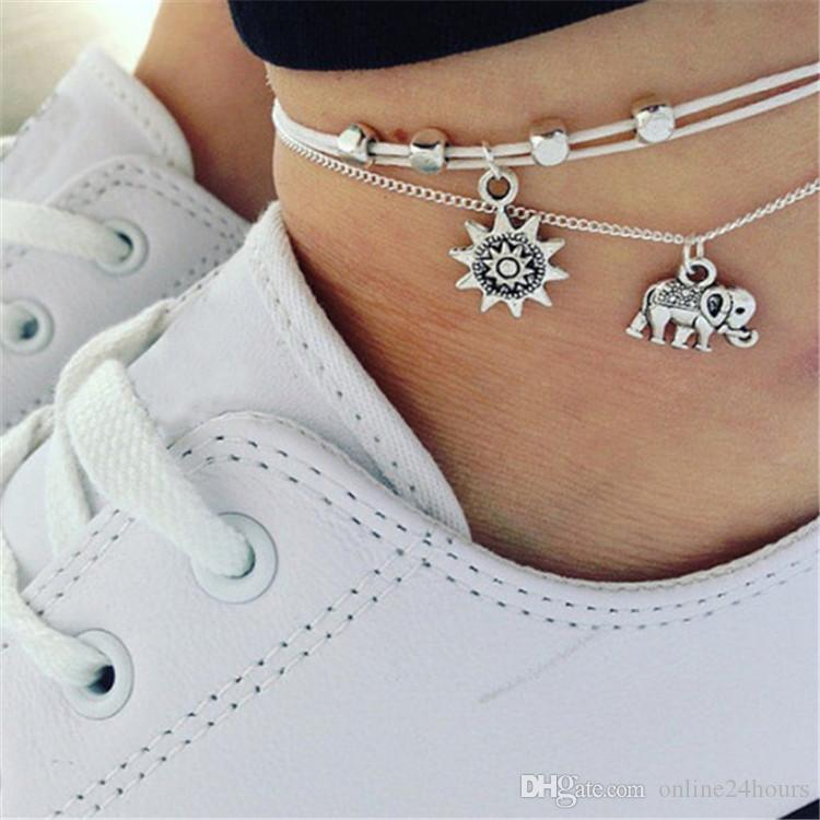 9674ed684d5 2019 Vintage Star Elephant Anklets Bracelet For Women Boho Pendent Double  Layer Anklet Bohemian Foot Jewelry Gift Factory Wholesale From  Online24hours