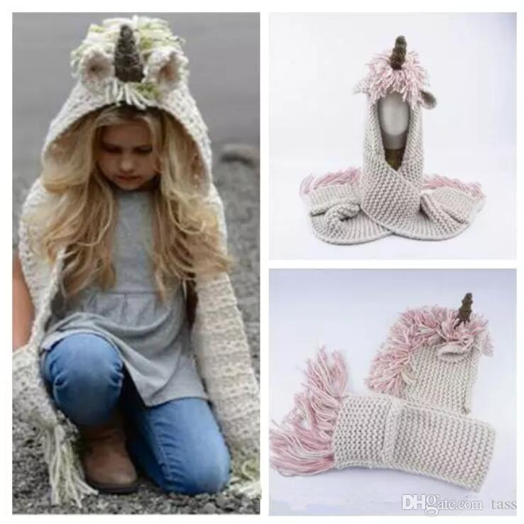 Knitted Unicorn Hats Scarf Tassels Baby Winter Warm Hats Kids Cartoon Cute Unicorn  Knitted Beanies Caps Cloche Hat Crochet Hats From Tass e6011f5f586