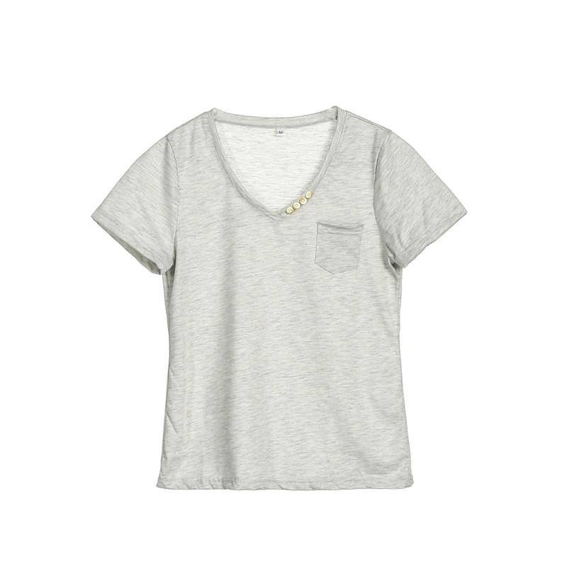 745185c898 Trendy Summer Women Short Sleeve Pocket T-Shirts Pullover V-Neck Ladies  Casual Loose Short Sleeve Tops One Pieces Online with  29.0 Piece on  Wanglon04 s ...