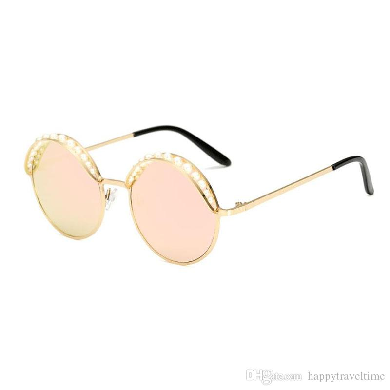 Moda para mujer gafas de sol redondas Vintage Steampunk Pearl Eyebrow Shades Eyewear