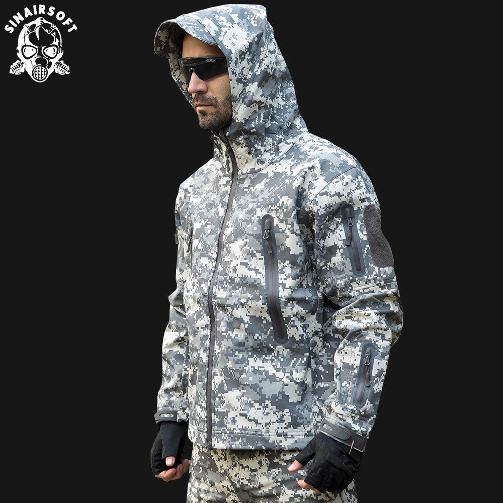 SINAIRSOFT Shark skin Tactical Outdoor Hunting Jacket Camping Combat Waterproof Polyester Coat Hood Camouflage Army Clothing