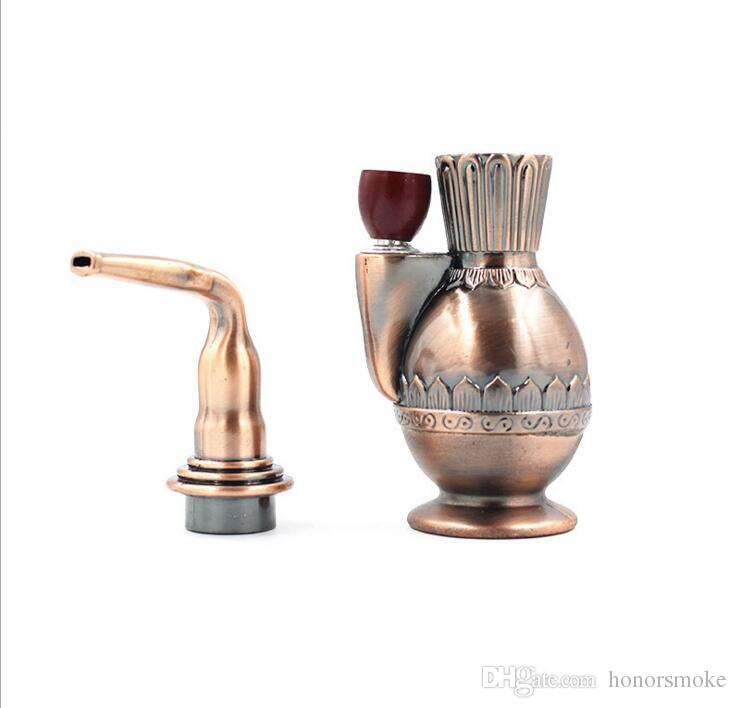 Newest Plastic Metal Imitation copper hookah Tobacco Smoking Cigarette Hand Pipes 5.9inch Tool 2 Functions With retail Box Fashion