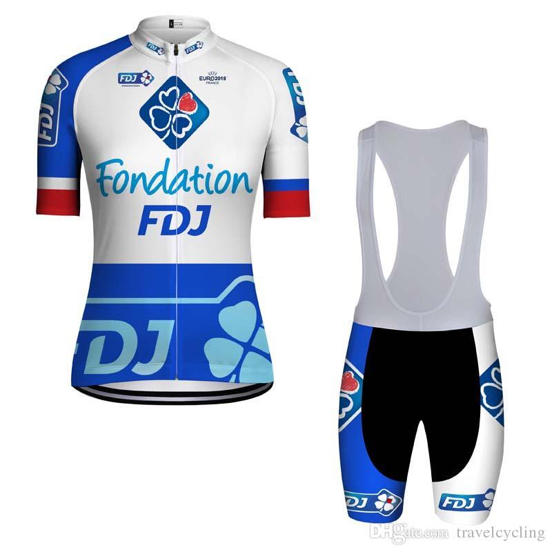 79f317e0b 2018 Men FDJ Short Sleeve Cycling Jersey Kit Ropa Ciclismo Breathable  Bicycle Clothing MTB Bike Jersey Bib Shorts Set Sportswear 90609Y Cycling  Tights Best ...