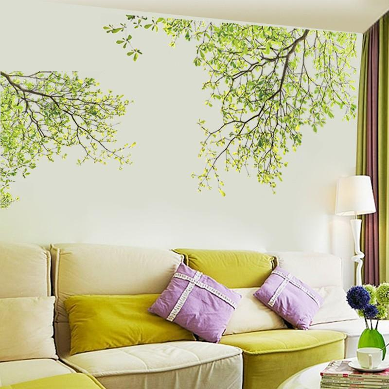 green leaves tree branch flowers wall stickers home decor living