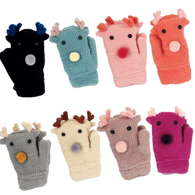 Humor Winter Warm Children Kids Mitten Gloves Knitted Fabric Double Thickened All Cover Fingers Kids Gloves For Boys And Girls Men's Gloves