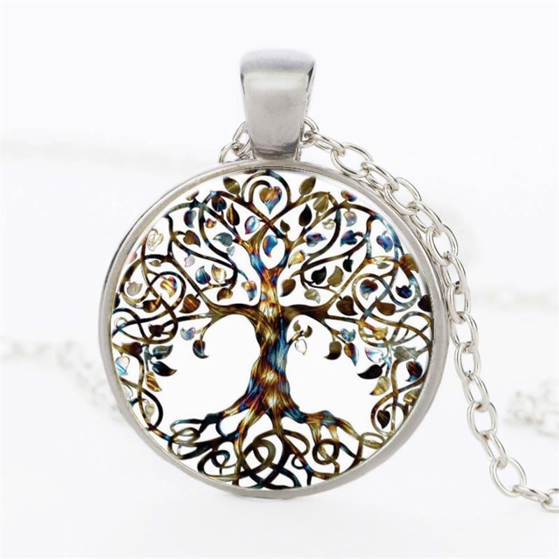 Güzel Hayat Ağacı Cam Kubbe Takı Kolye Moda Gümüş Renk Zincir Hayat Ağacı Kolye Kolye Best Friends Hediyeler