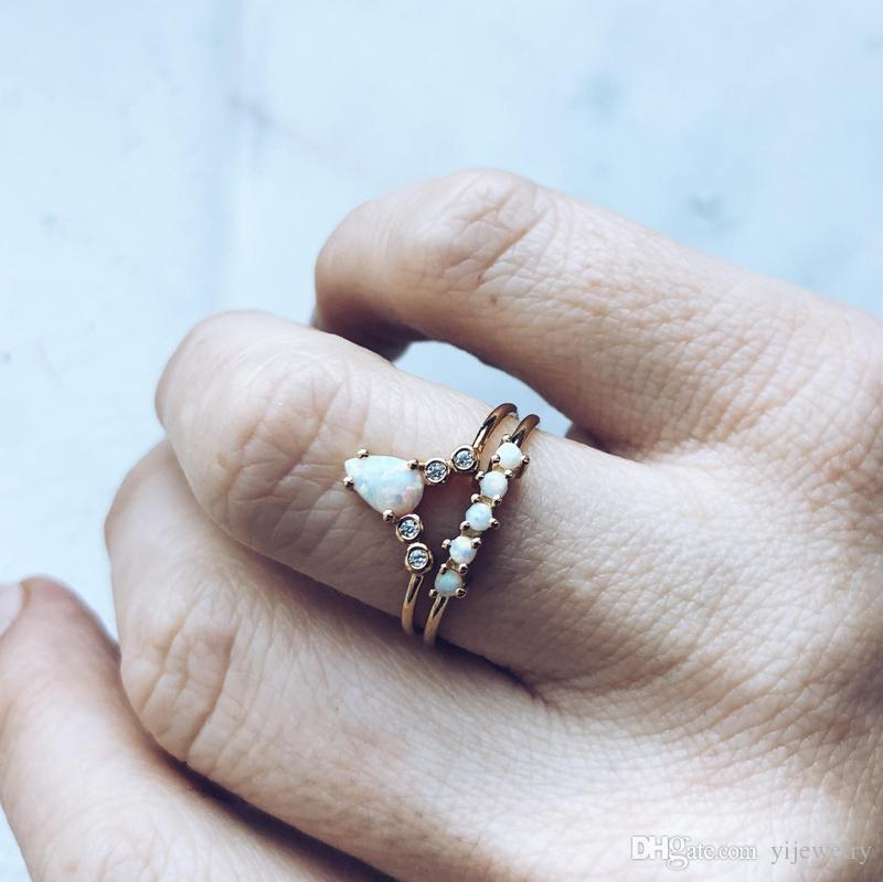 2019 Stack Stacking Ring Set Paved White Fire Opal Engagement