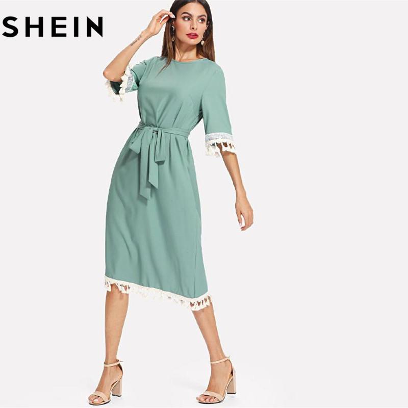 ea0057f3d7e Acheter 20187 Shein Sequin And Tassel Dress Robe À Demi Manches À Manches  Longues 2018 Summer Blue Dress Ceinture De  42.72 Du Huang03