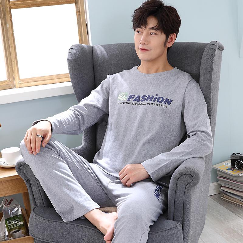 c32ab68d0076 New 2018 Men Pajamas Suit Long Sleeve Spring Autumn Pijama Set Men ...