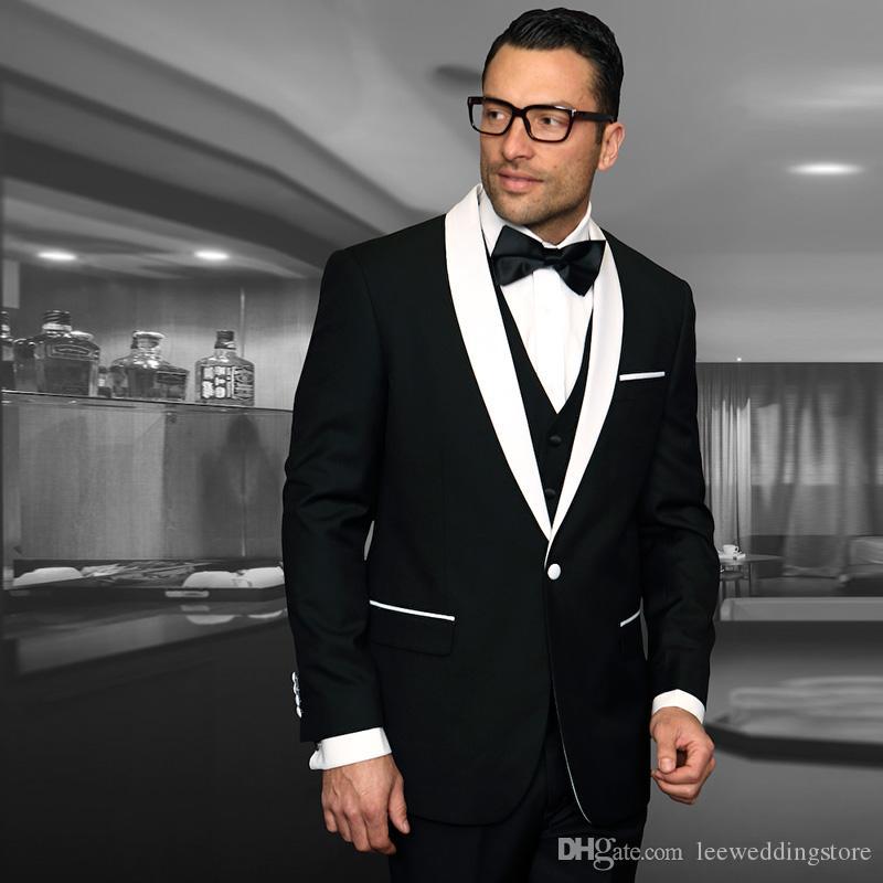 31ebf667b Men Suits 2018 Black White Shawl Lapel Wedding Suits Bridegroom ...
