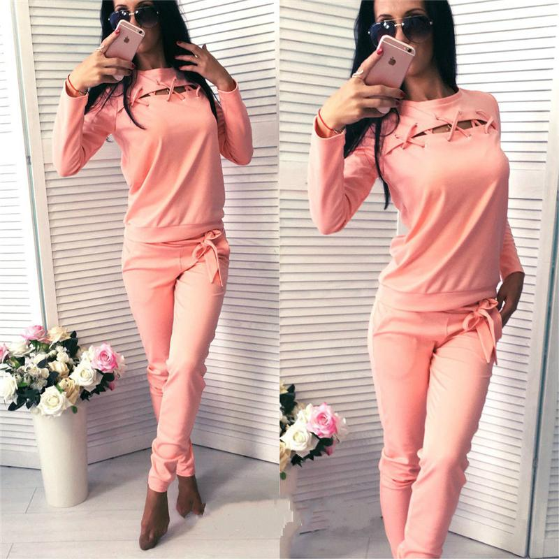 c936952350cf Casual Women Solid Lace Up Tops Sweatshirt+Pants Tracksuit Long ...