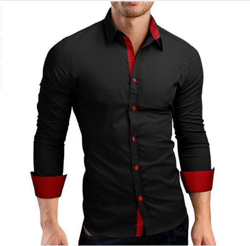 dbab4862639f4 Compre Camisa Marca 2018 Última Moda Masculina De Alta Calidad Camisas De  Manga Larga Casual Hit Color Slim Fit Hombre Negro Camisas De Vestir A   142.92 Del ...