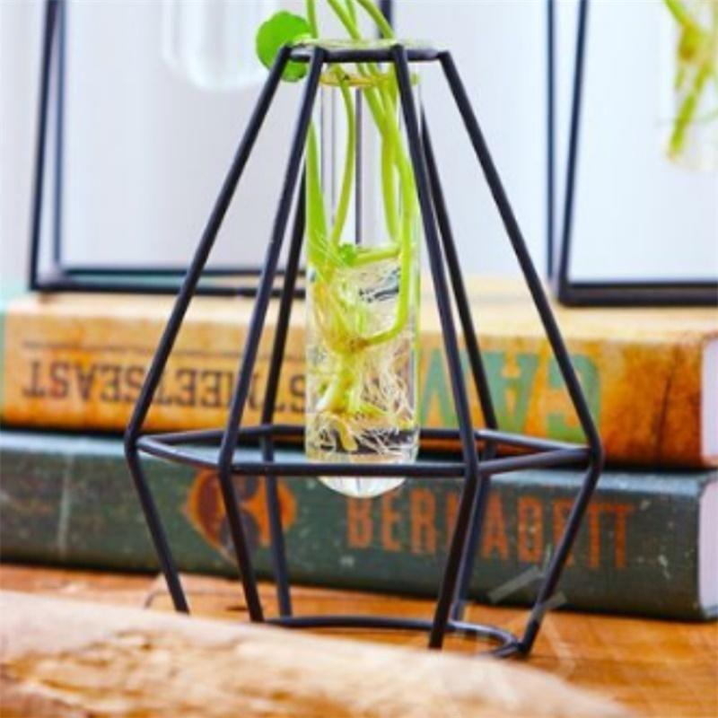 إناء من الزجاج الشفاف مع حامل للحديد للزينة المائية لتزيين الزهور هدية صغيرة