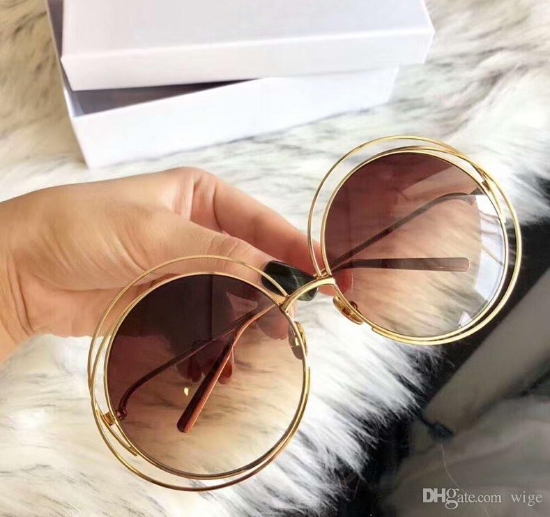 f95e01579 Designer Round Sunglasses 18K Plated Gold/Brown Gradient Lens Women ...