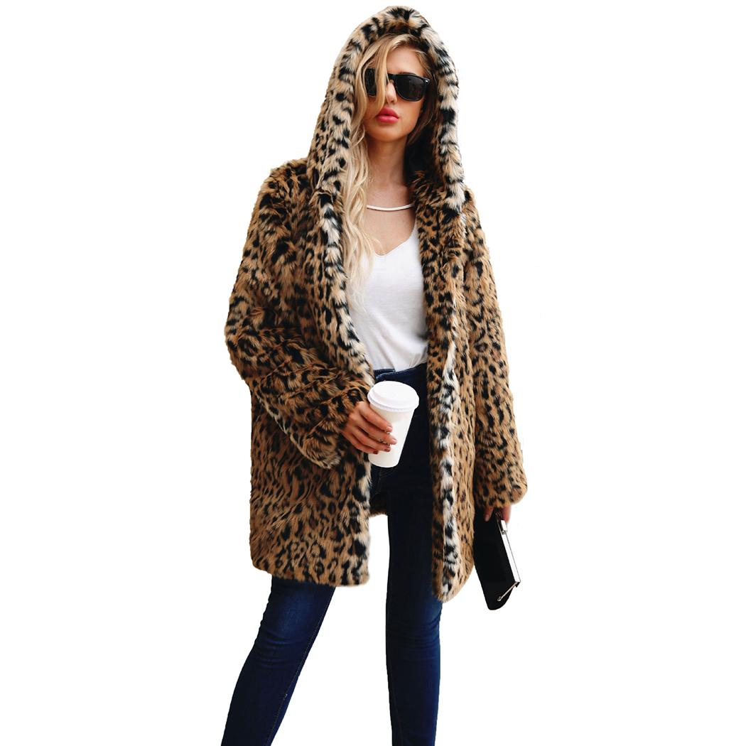 70fa7dd9a304 2019 Winter Outerwear Warm Faux Fur Coats Women Leopard Fur Jacket Turn  Down Collor Hooded Long Thick Coat Fake Femme Plus Size A4 From Ziron, ...