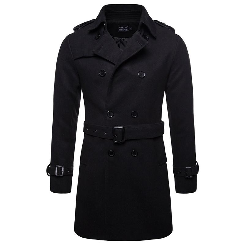 8ea0b282050 2019 AOWOFS Winter Men Wool Pea Coats Black Mens Overcoat Short Trench Coats  Male Double Breasted Pea Coat High Quality Wool Clothing From Honey111