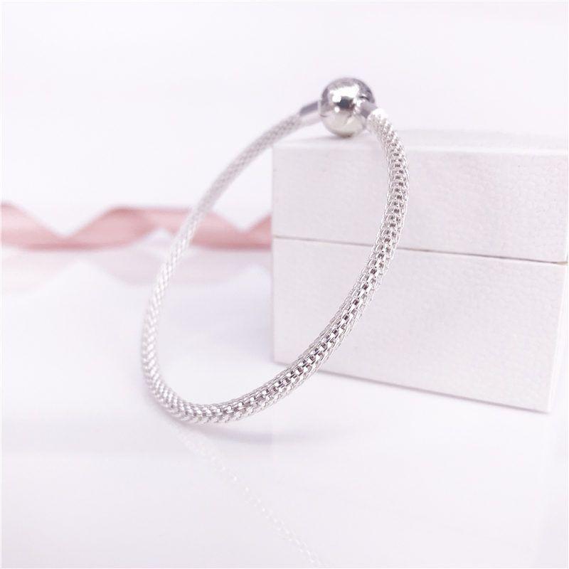 MOMENTOS de Prata Esterlina Malha Pulseira, S925 Sterling Silver Mulheres Marca de Jóias Fit DIY Contas E Encantos
