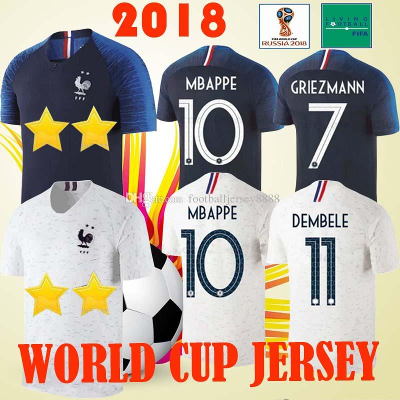 buy online f58f6 f4042 MBAPPE 10 POGBA #6 World Cup Soccer Jersey 2 Stars GRIEZMANN #7 Soccer  Shirts PAYET 8 DEMBELE 11 GIROUD 9 THAUVIN football Shirts
