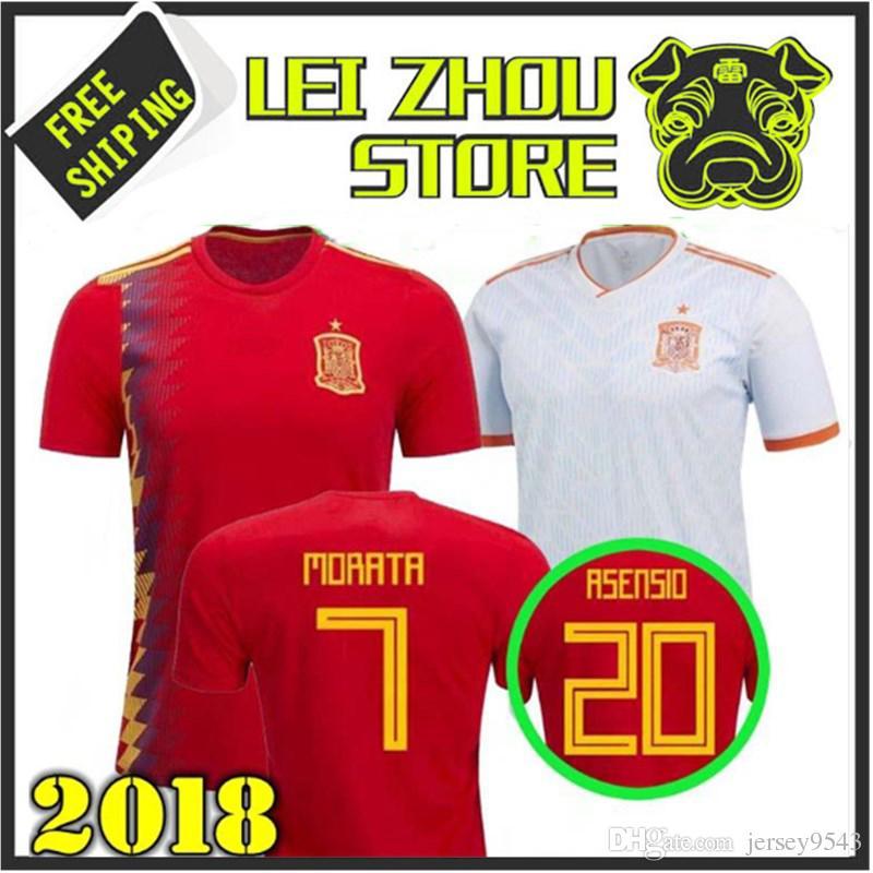 2018 Spain Red House Far White T-shirt 2018 World Cup Spain Football ... 64b925106