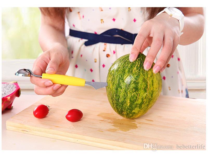 Bunte Küchenhelfer Doppelt-köpfiger Fruchtkugellöffel-Küchenedelstahl-WassermelonenEiscremegraben gegrabenes Graben der Frucht schnitzte Messer