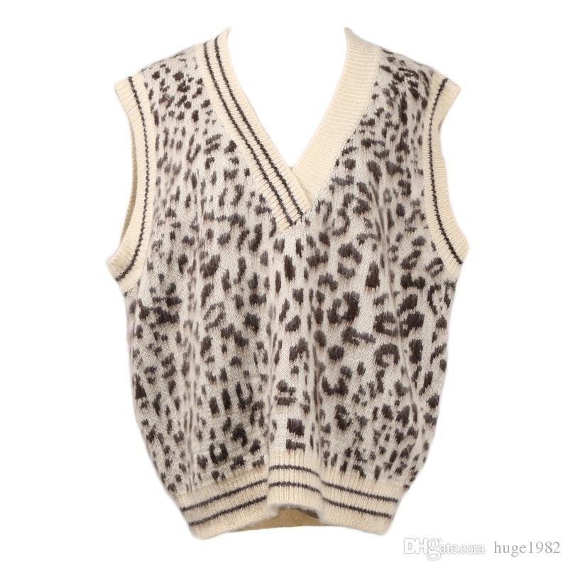 Compre Estampado De Leopardo Suelto Con Cuello En V Suéter Suéter Chaleco  Para Mujer Abrigo Informal Moda A  40.2 Del Huge1982  d71777731ba