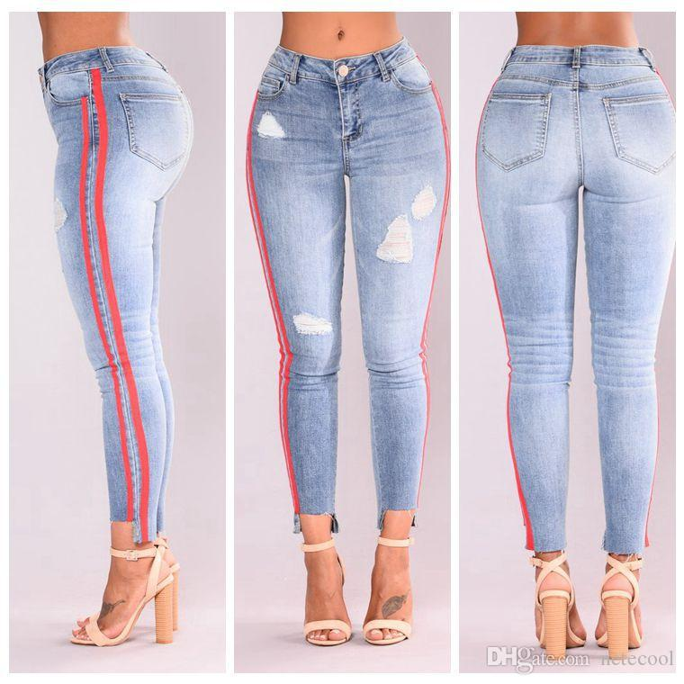 d16feb8880e 2019 2018 High Street Jeans Women Basic Classic High Waist Skinny Pencil Denim  Pants Striped Ripped Hole Elastic Stretch Jean Women Plus Size From  Netecool
