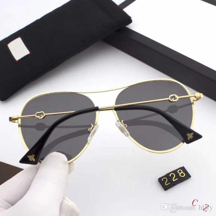 228 populäre Sonnenbrille Weiseluxuxfrauen Marke Designer Oval Sommer-Art-Full Frame-hochwertige UV-Schutz-Mischfarben kommen mit Kasten
