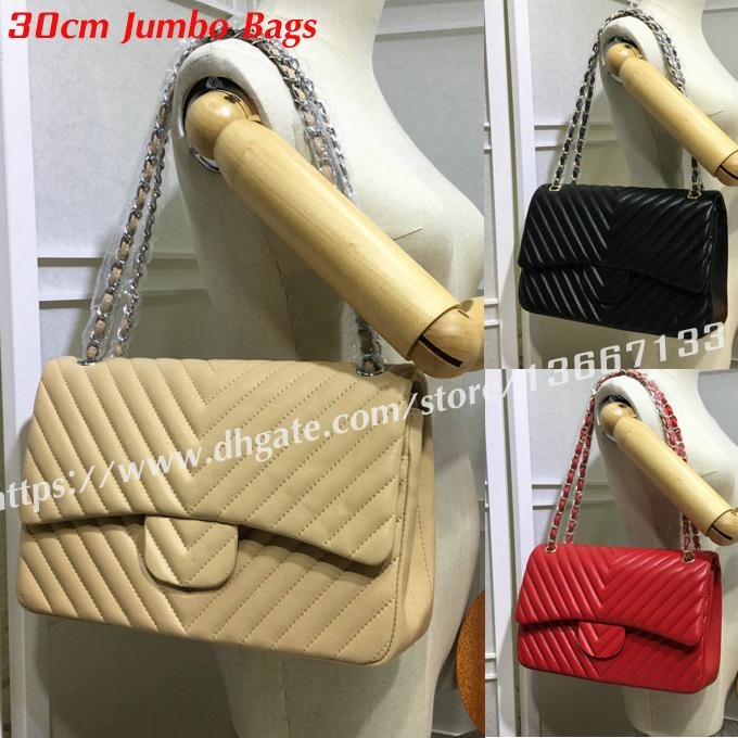 9c5d62abc3ba01 Hot Design Large Shoulder Bag 30cm Women's Black Lambskin Chevron Jumbo Bag  Classic Double Flaps Handbags 1113