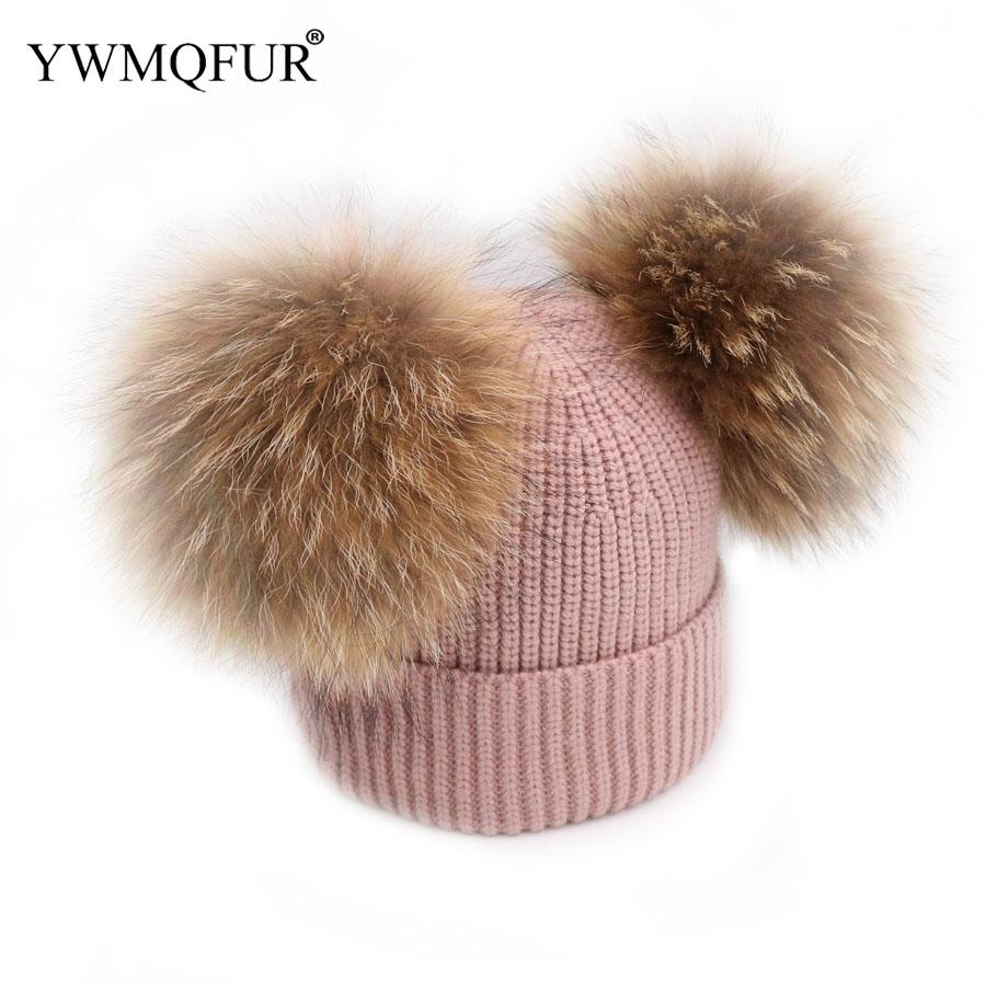 cd3966d3feb Winter Knit Hats Warm Thick Kids Hats With Raccoon Fur Balls 1 To 3 Years  Old And Adult Women Cute Girl Beanies Caps New Arrival Skullies   Beanies  Cheap ...