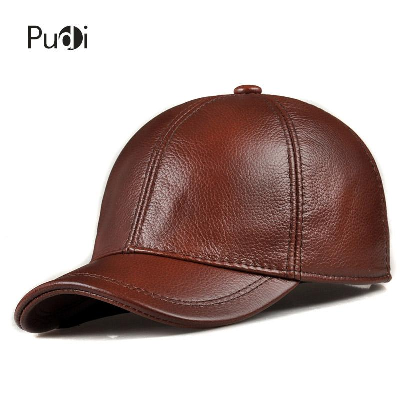 2584a837a91 HL171 F Spring Genuine Leather Baseball Sport Cap Hat Men S Winter Warm Brand  New Cow Skin Leather Newsboy Caps Hats Hats And Caps Skull Caps From Pudi