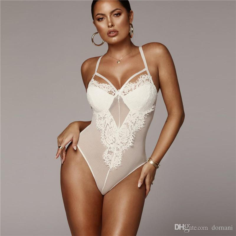 24062c66cd22 2019 Jumpsuits Women Jumpsuits Rompers Lingeries Women Clothes Sexy  Lingeries T Shirts Lace White Black Bodysiuts Pencil New Drop Shipping From  Domani