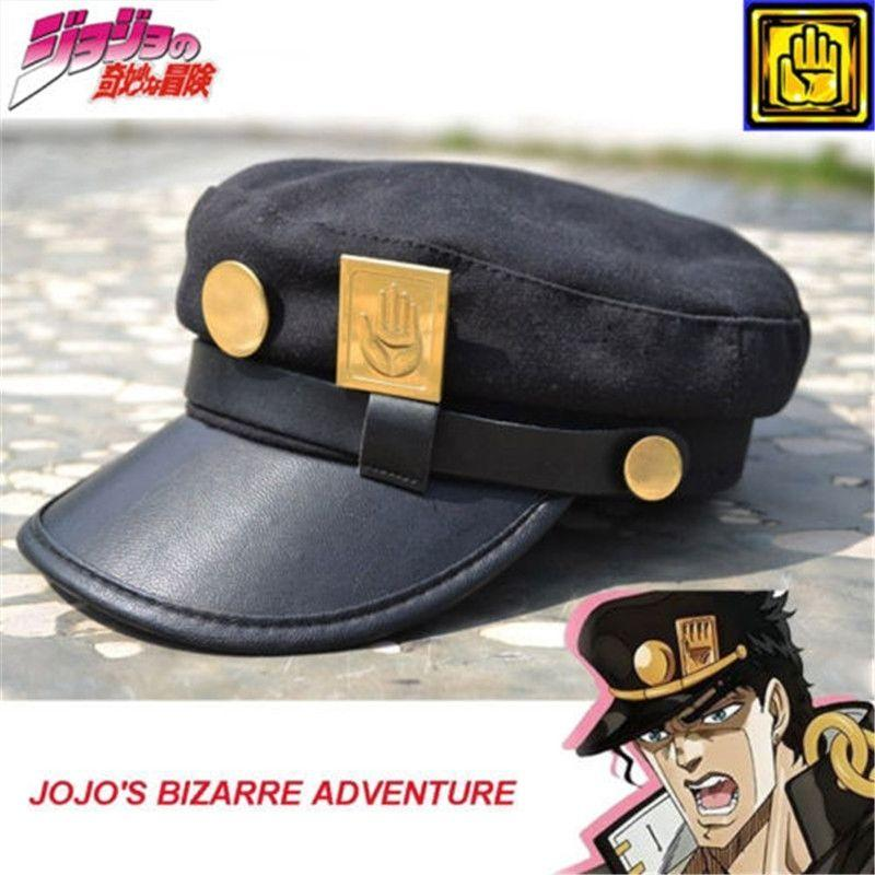 ba97b007 jotaro kujo Anime JoJo's Bizarre Adventure Jotaro Kujo Joseph Army Military  JOJO Cap Hat+Badge Animation around Free shipping