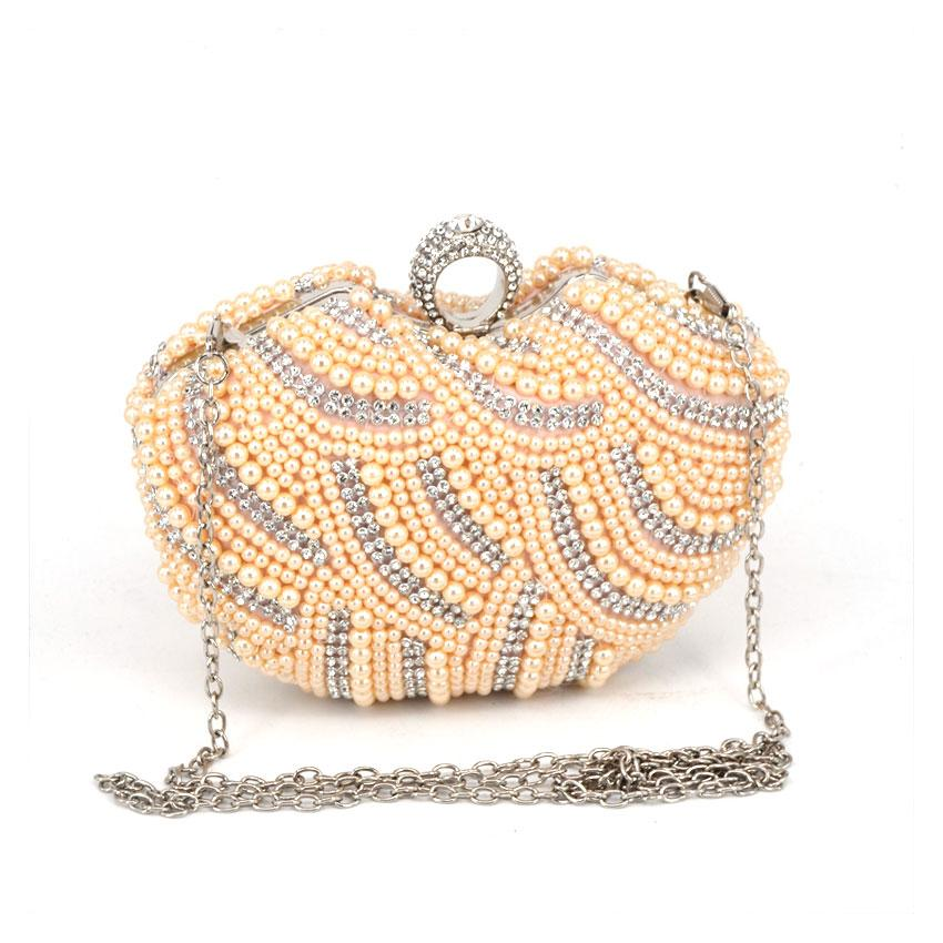 ef61fc39d794a New Arrival Heart Shaped Women Evening Bags Beaded Small Purse Day Clutches  Evening Bags Finger Ring Rhinestones Wedding Handbag Brown Leather Handbags  Tan ...