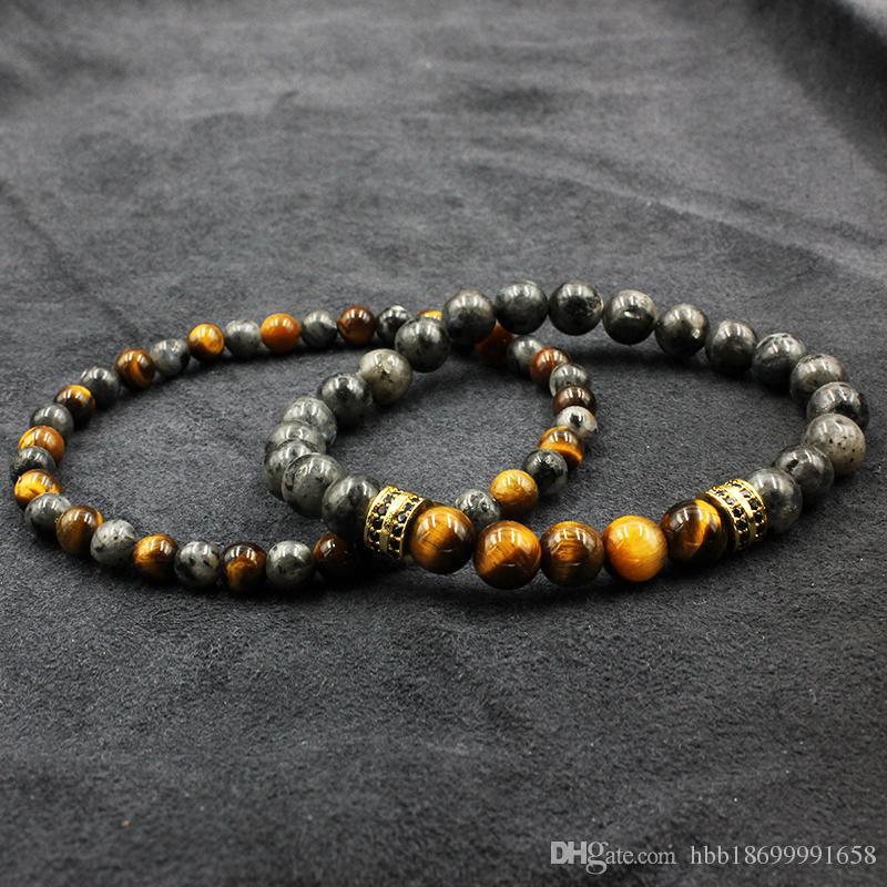 Tiger Eye Stone Beads Bracelet Buddha Charm Bracelets & Bangle Mew Men Labradorite Stone Micro inlay zircon
