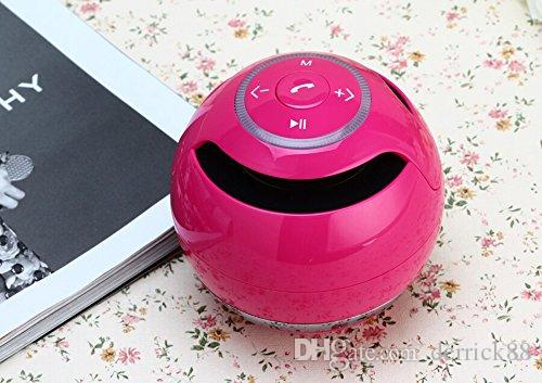 Wireless Bluetooth Hands Free Calling Speaker, Bass Mini Speaker, Round and Portable Button Control Speaker Pink