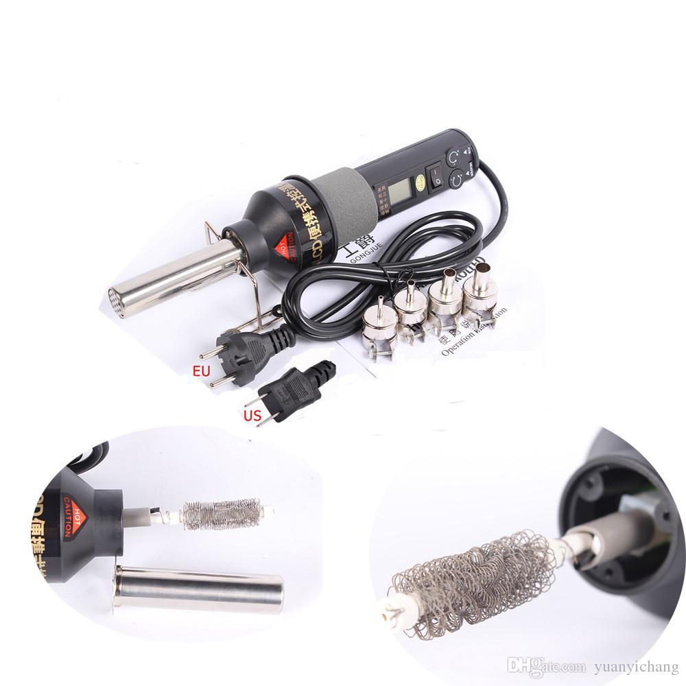 8018LCD 110 فولت / 220 فولت 450 واط lcd عرض الحرارة تعديل الهواء الساخن بندقية desoldering محطة لحام مع 9 فوهات الهواء الحرارة