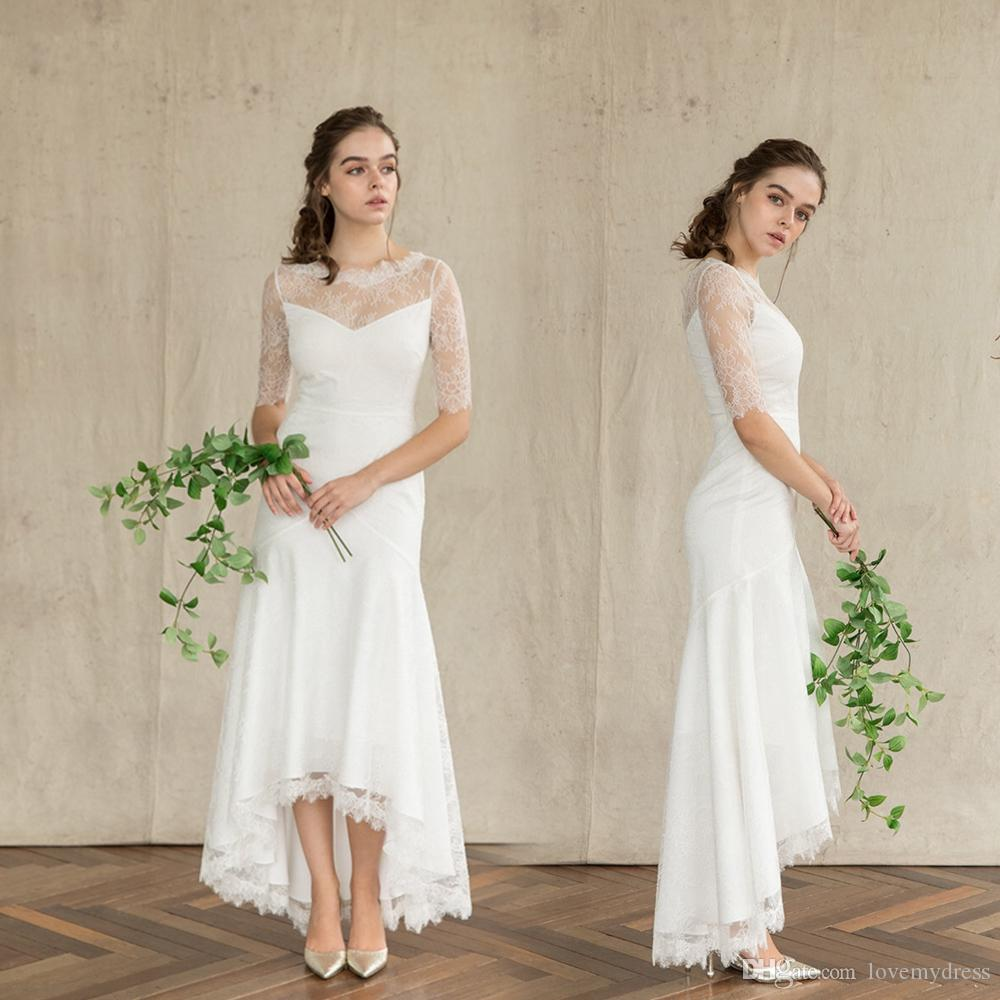 12e7d1b043 Mermaid Simple Cheap Wedding Dresses High Low Designer Lace Bodice Illusion  Half Sleeves V Backless Zipper Bridal Gown Cheap Under 100
