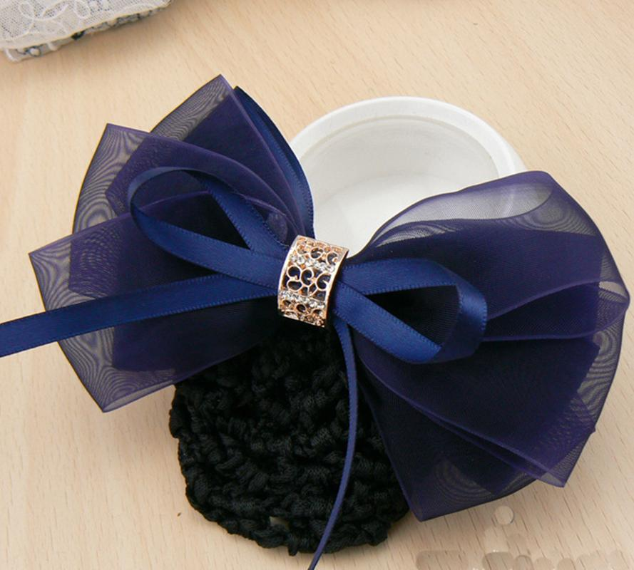 Fashion Office Lady Bow Pearl Tie Barrette Hair Clip Cover Bowknot Net Bun Deep Snood for Long Hair Waiter Accestory