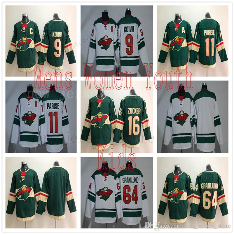 new concept cfd4d 0e6bb Women Kids Minnesota Wild Hockey Jerseys 9 Mikko Koivu 11 Zach Parise 64  Mikael Granlund Jerseys Man Green White All Stitched High Quality