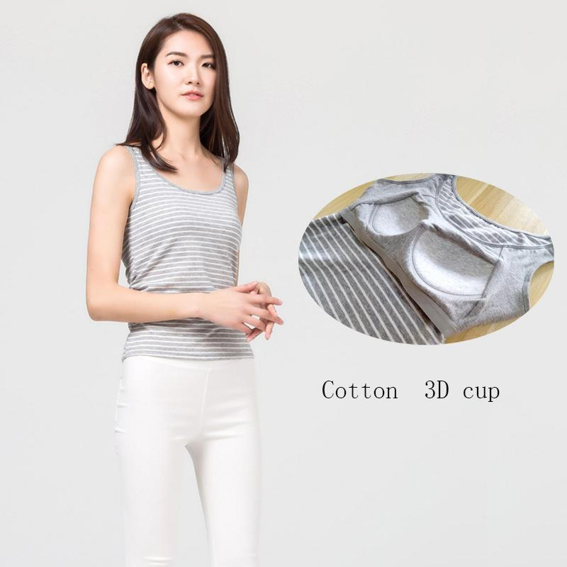 b00c1e8af7 2019 Women Built In Padded Bra Tank Top Sleepwear Breathable Cotton Camisole  Striped Casual Basic Shirt Women Tops Bra Vest Summer From Pattern68
