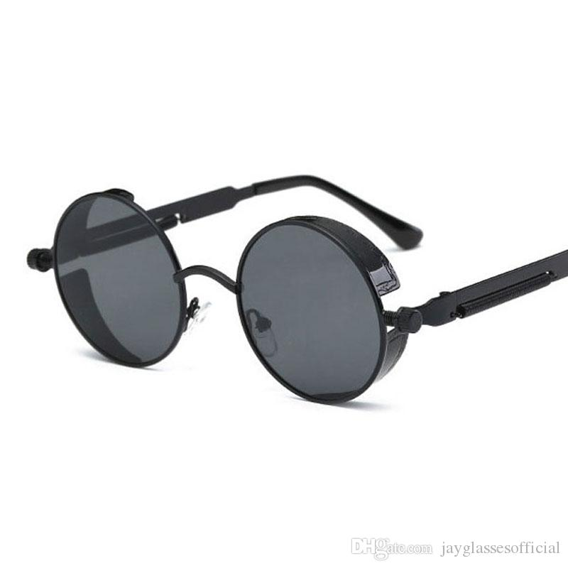 f00a5dcc83d4f Compre Steampunk Lado Viseira Óculos De Sol Redondos Óculos De Sol Do  Vintage Para As Mulheres Homens Retro Steam Punk Goggles Preto Prata Ouro  De ...