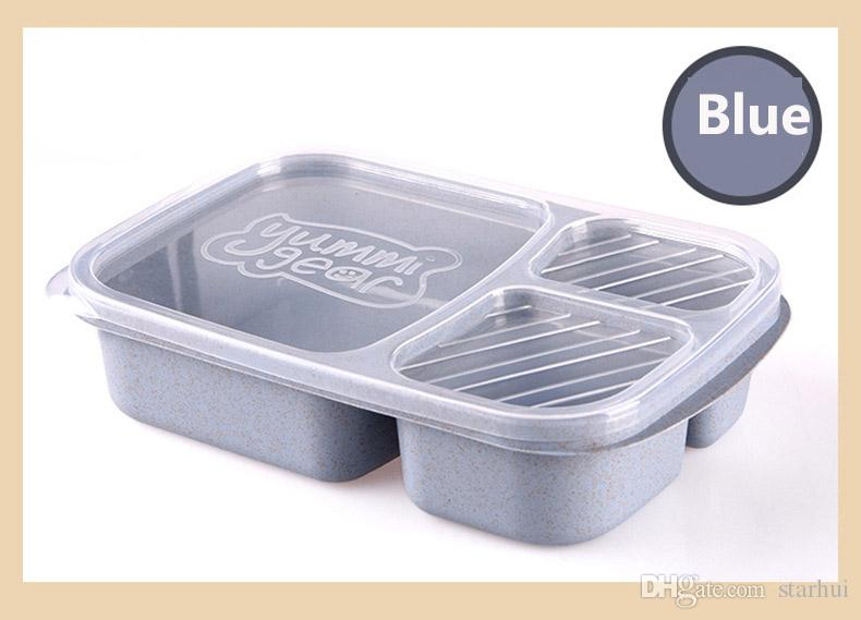3 Grid Lunch Boxes With Lid Microwave Food Fruit Storage Box Take Out Container Dinnerware Sets have in stock WX9-301