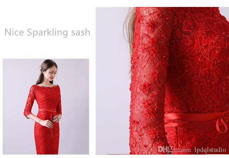Sexy Lace Cocktail Dresses Dark Red,Red,Cocktail,Royal Blue Applique Beads Scoop Three Quarter SLeeves Zipper Back Tea Length Party Dress