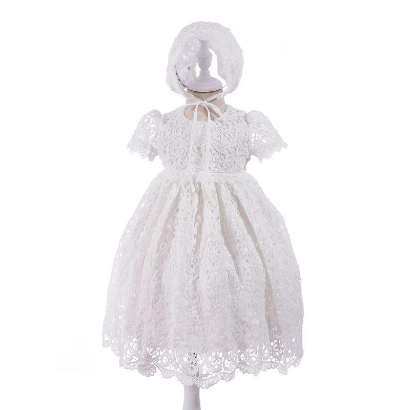 New Infant Baby Girls Dress Lace Long Length Christening Gown Mesh Formal First Birthday Princess Dress for 0-30 Months